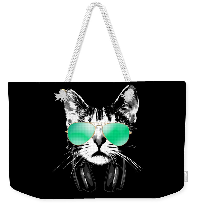 Cat Weekender Tote Bag featuring the digital art Cool DJ Cat by Filip Schpindel
