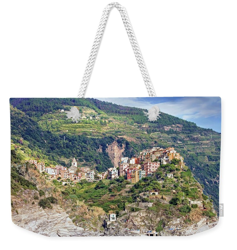 Built Structure Weekender Tote Bag featuring the photograph Corniglia View by Ellen Van Bodegom