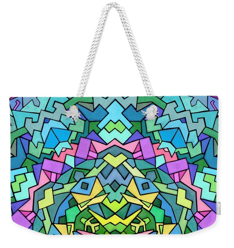 Nonobjective Weekender Tote Bag featuring the digital art Cosmic Lock by James Fryer