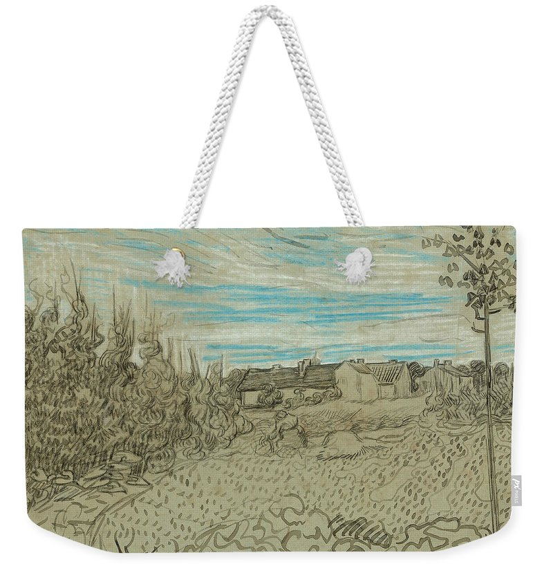 19th Century Art Weekender Tote Bag featuring the drawing Cottages With A Woman Working In The Middle Ground by Vincent van Gogh