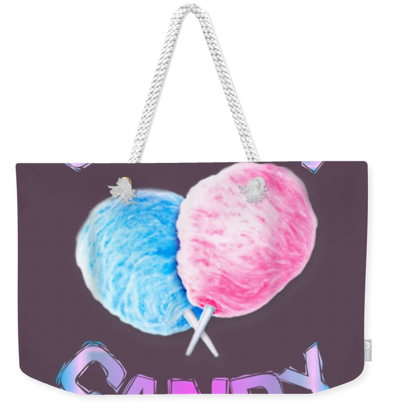 girls' Novelty Clothing Weekender Tote Bag featuring the digital art Cotton Candy Sticks Cones Floss Sweet Tooth Candy Fun Gifts T-shirt by Unique Tees