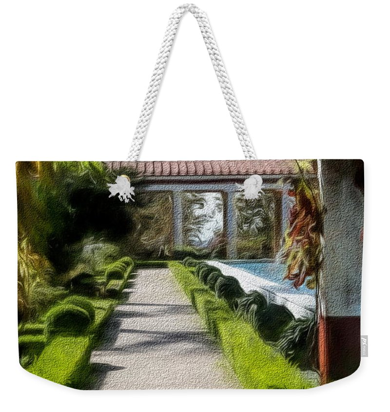 Getty Villa Weekender Tote Bag featuring the photograph Painted Texture Courtyard Landscape Getty Villa California by Chuck Kuhn