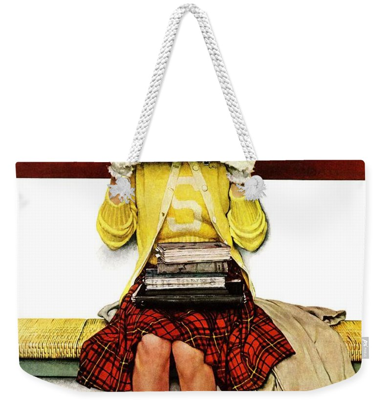 Covers Weekender Tote Bag featuring the drawing Cover Girl by Norman Rockwell