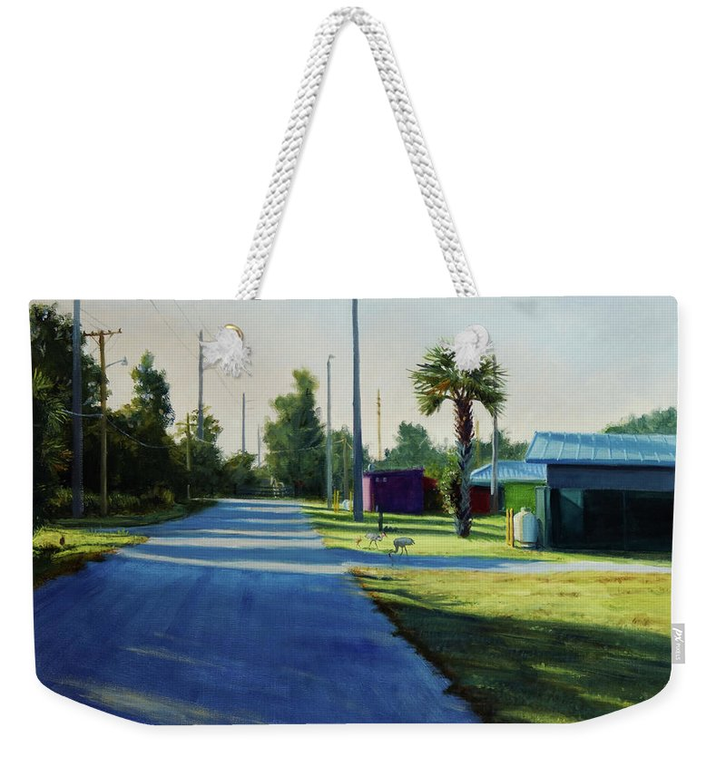 Landscape Florida Sandhill Cranes Morning Fairground Sunrise Sultry Tropical Weekender Tote Bag featuring the painting Crane Walk by Brett Pigon