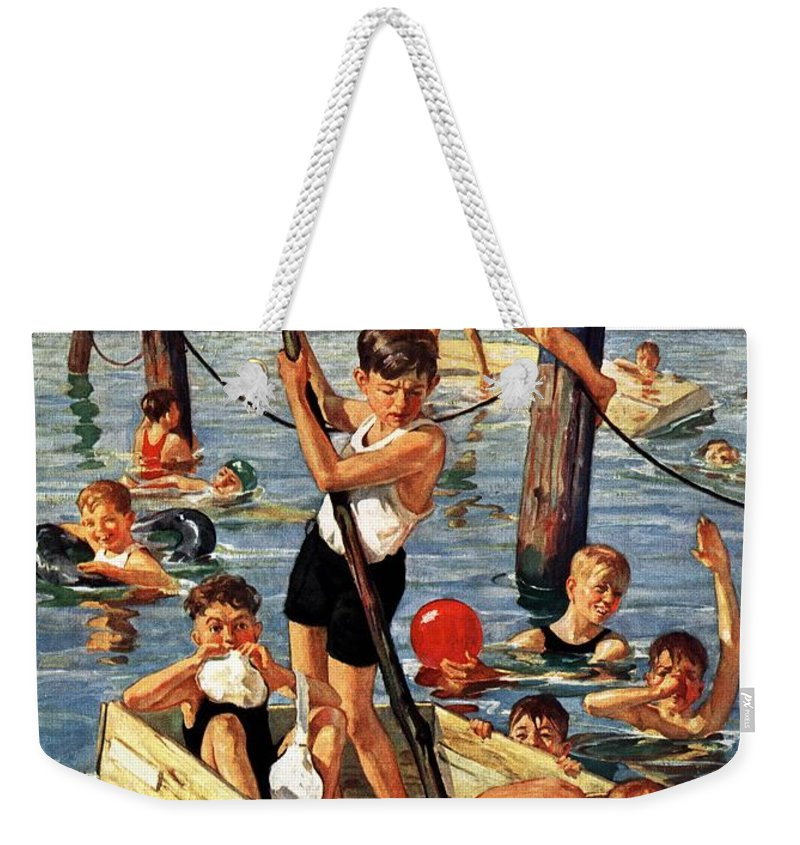 Boats Weekender Tote Bag featuring the drawing Crowd Of Boys Swimming by Eugene Iverd