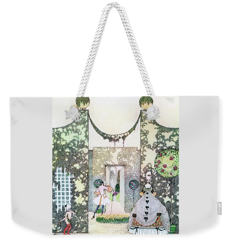 Princess Weekender Tote Bag featuring the painting Cupid With Prince Mirrawlow And Court Ladies Who Are Playing In The Garden by Kay Nielsen