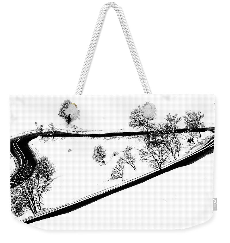 Curve Weekender Tote Bag featuring the digital art Curved Light Trails by Martin Pickard