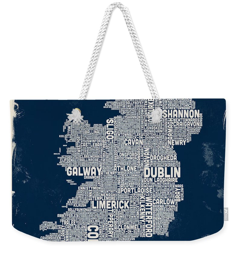 Ireland Map Weekender Tote Bag featuring the digital art Custom Ireland City Text map by Michael Tompsett