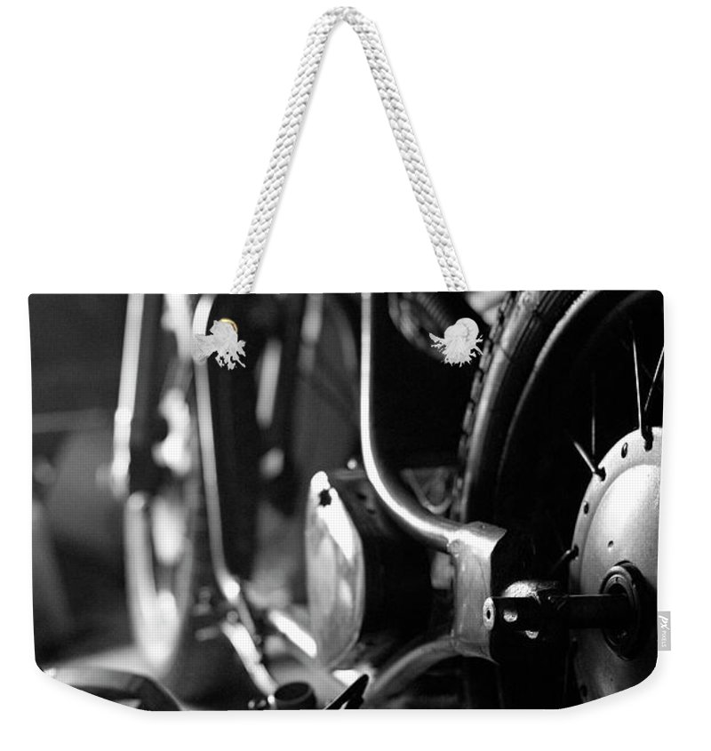 Engine Weekender Tote Bag featuring the photograph Custom Motorcycle by Alexey Bubryak