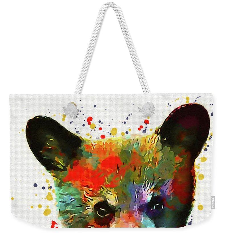 Bear Weekender Tote Bag featuring the digital art Cute Baby Bear by Nikolay Radkov