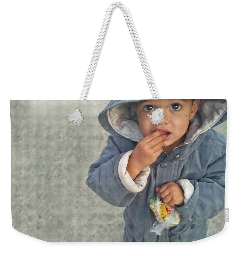 Cute Weekender Tote Bag featuring the photograph Cute Baby by Imran Khan