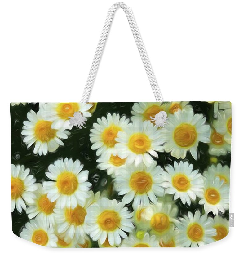 Weekender Tote Bag featuring the digital art Daisy Crazy For You by Cindy Greenstein