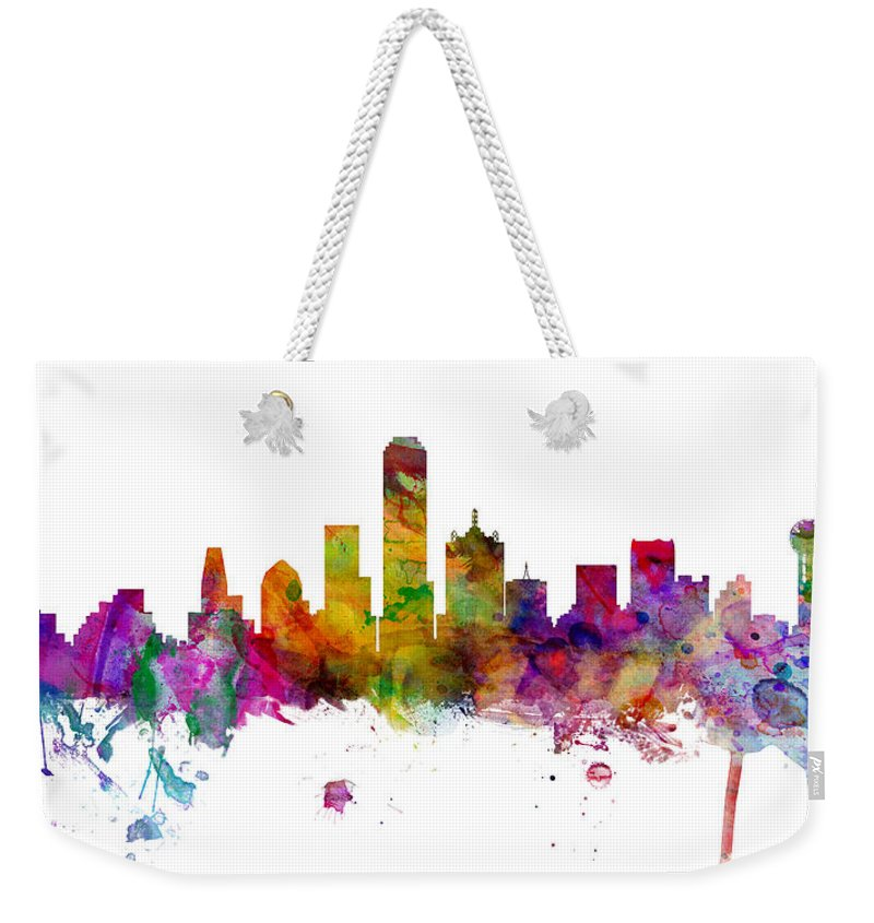 United States Weekender Tote Bag featuring the digital art Dallas Texas Skyline Panoramic by Michael Tompsett