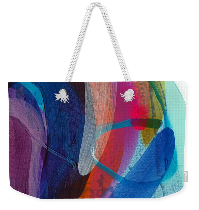 Abstract Weekender Tote Bag featuring the painting Dancing In The Kitchen by Claire Desjardins