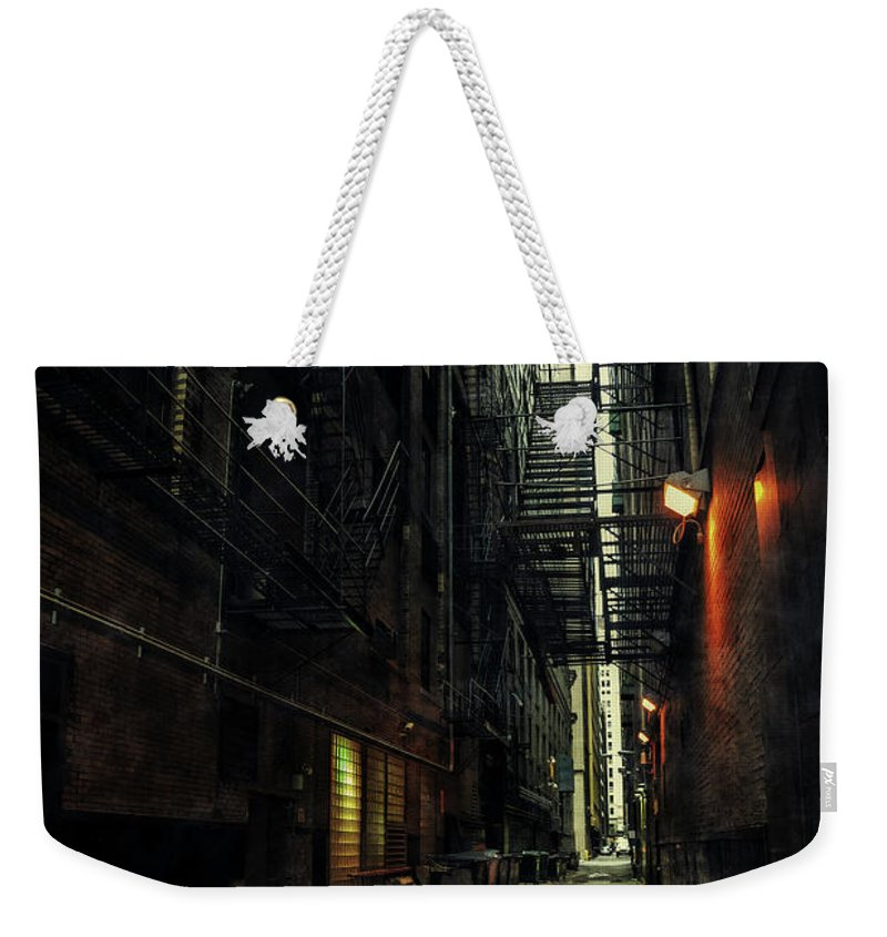 Alley Weekender Tote Bag featuring the photograph Whispering City by Bruno Passigatti