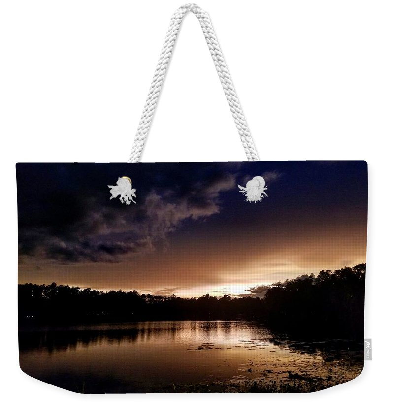 Sunset Weekender Tote Bag featuring the photograph Dark Reflections by Shena Sanders