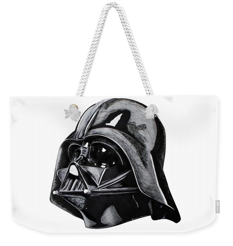 Rey Weekender Tote Bag featuring the drawing Darth Vader by Ivan Florentino Ramirez