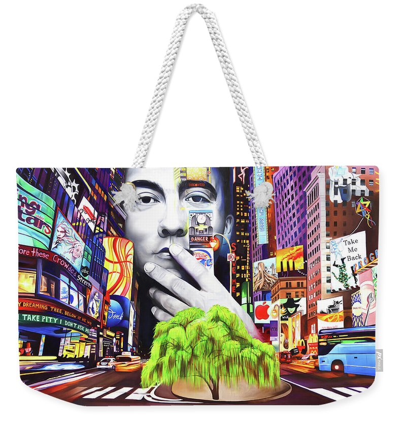 The Dave Matthews Band Weekender Tote Bag featuring the painting Dave Matthews Dreaming Tree by Joshua Morton