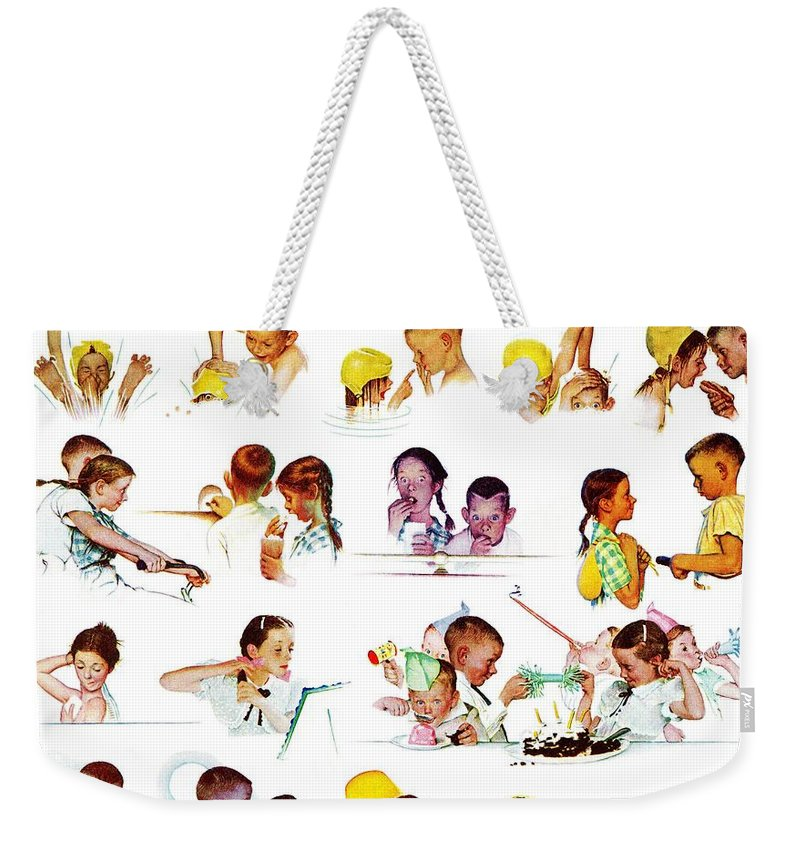 Birthdays Weekender Tote Bag featuring the drawing Day In The Life Of A Girl by Norman Rockwell