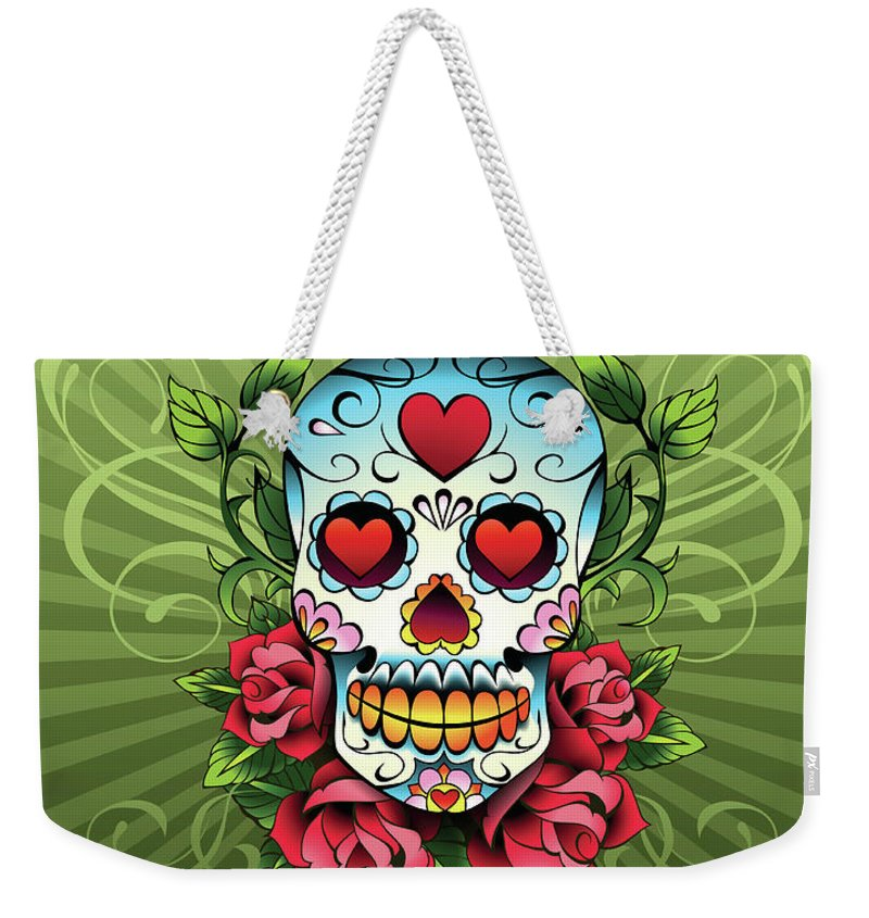 Horror Weekender Tote Bag featuring the digital art Day Of The Dead Skull by New Vision Technologies Inc