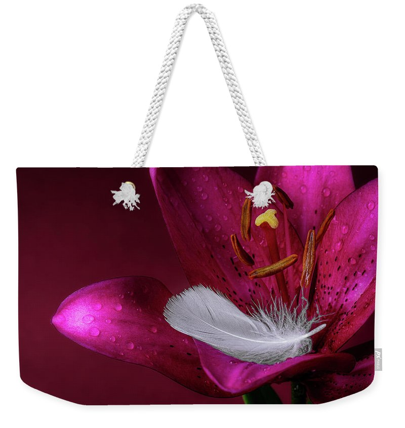 Closeup Weekender Tote Bag featuring the photograph Daylily With Feather by Tom Mc Nemar