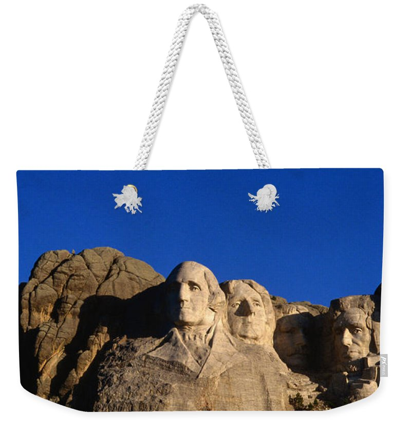 Mt Rushmore National Monument Weekender Tote Bag featuring the photograph Daytime Moon Above Presidential Faces by Mark Newman