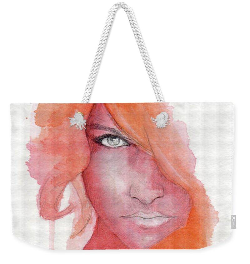 Face Weekender Tote Bag featuring the painting Deep Orange by Raffaello Saverio Padelletti