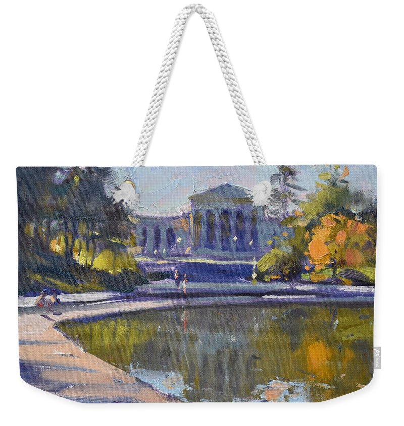 Delaware Park Weekender Tote Bag featuring the painting Delaware Park Buffalo by Ylli Haruni