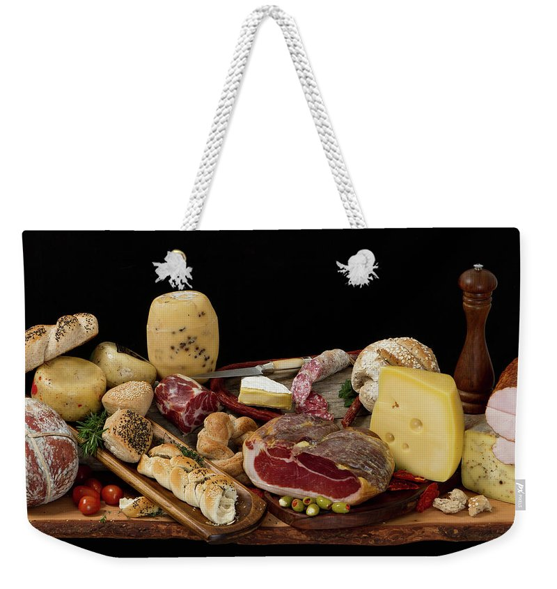 Cheese Weekender Tote Bag featuring the photograph Delicious Typical Argentinean Antipasto by Ruizluquepaz