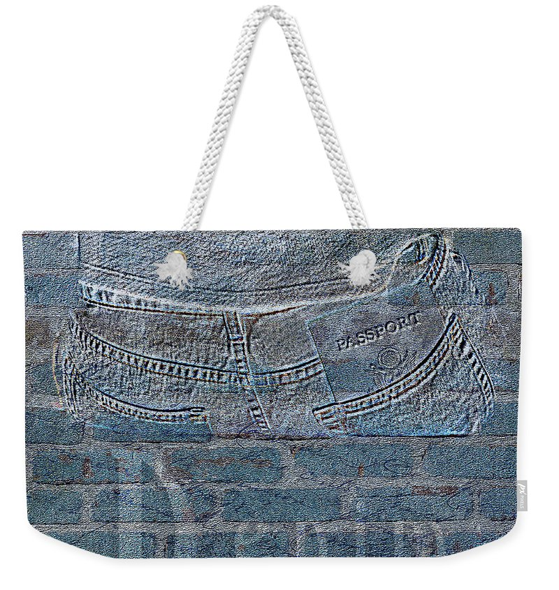 Duvet Weekender Tote Bag featuring the mixed media Denim- Sexy Blue Jeans by Dezigners Agency