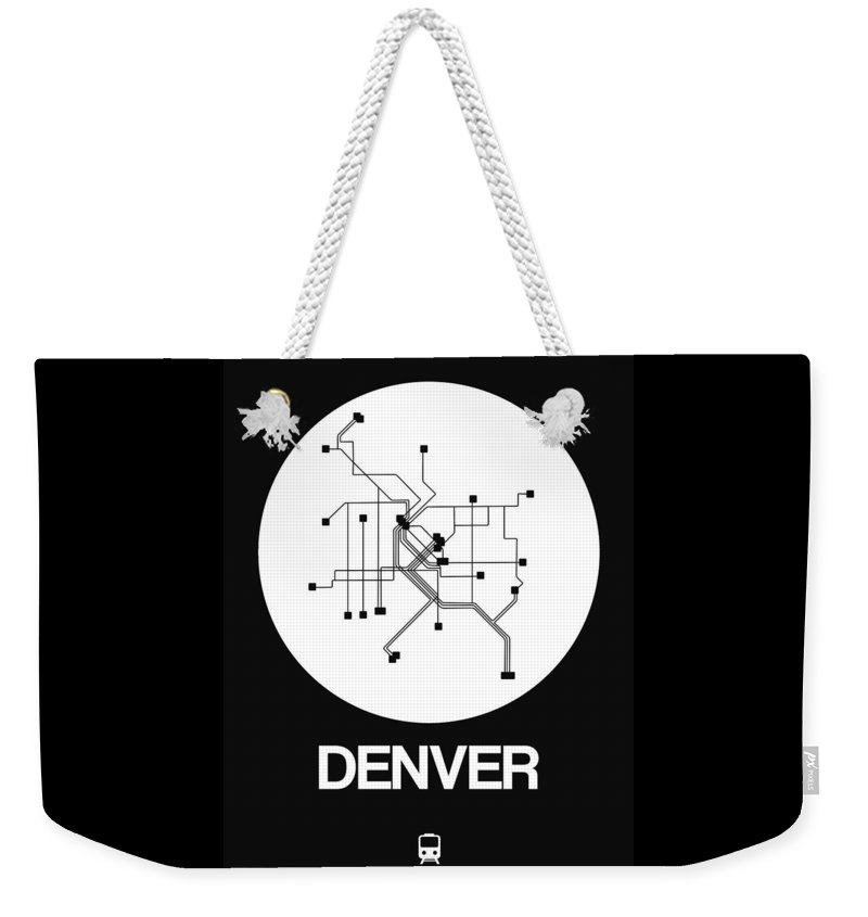 Vacation Weekender Tote Bag featuring the digital art Denver White Subway Map by Naxart Studio