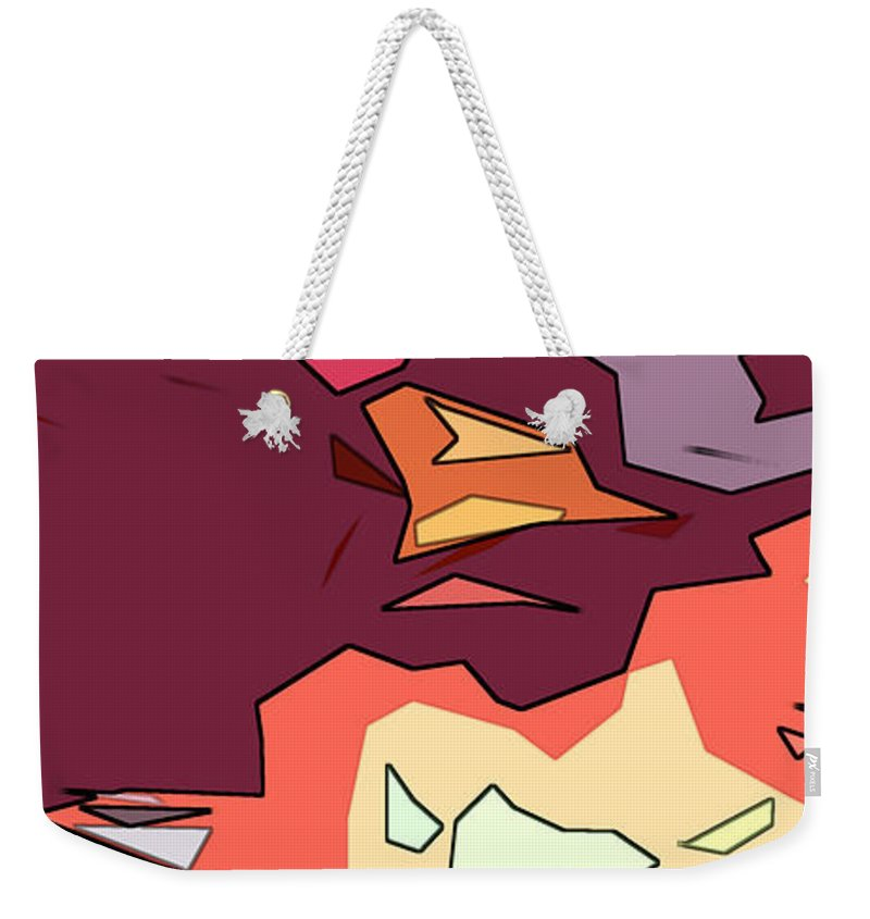 Abstract Weekender Tote Bag featuring the digital art Desert Aspect Panel One Of Three by Linda Mears