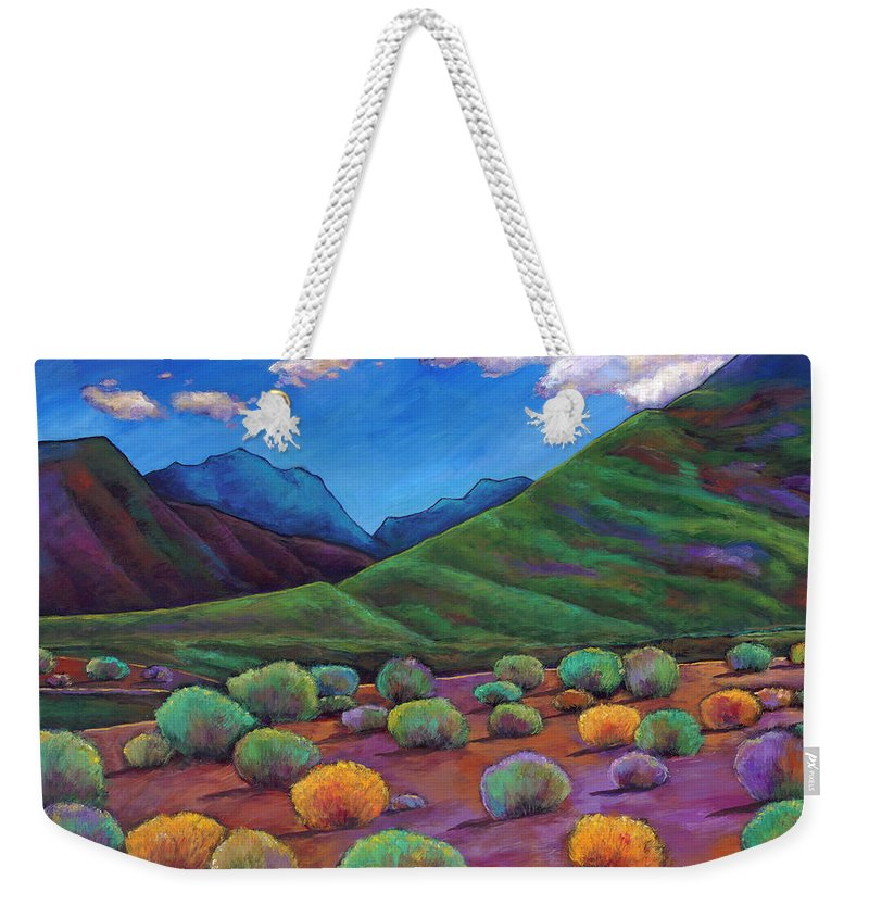 Arizona Weekender Tote Bag featuring the painting Desert Valley by Johnathan Harris