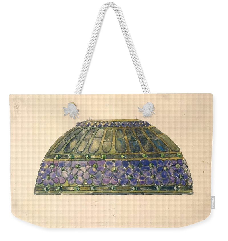 Car Weekender Tote Bag featuring the painting Design For Floral Lamp Louis Comfort Tiffany American, New York 1848-1933 New York by Louis Comfort Tiffany