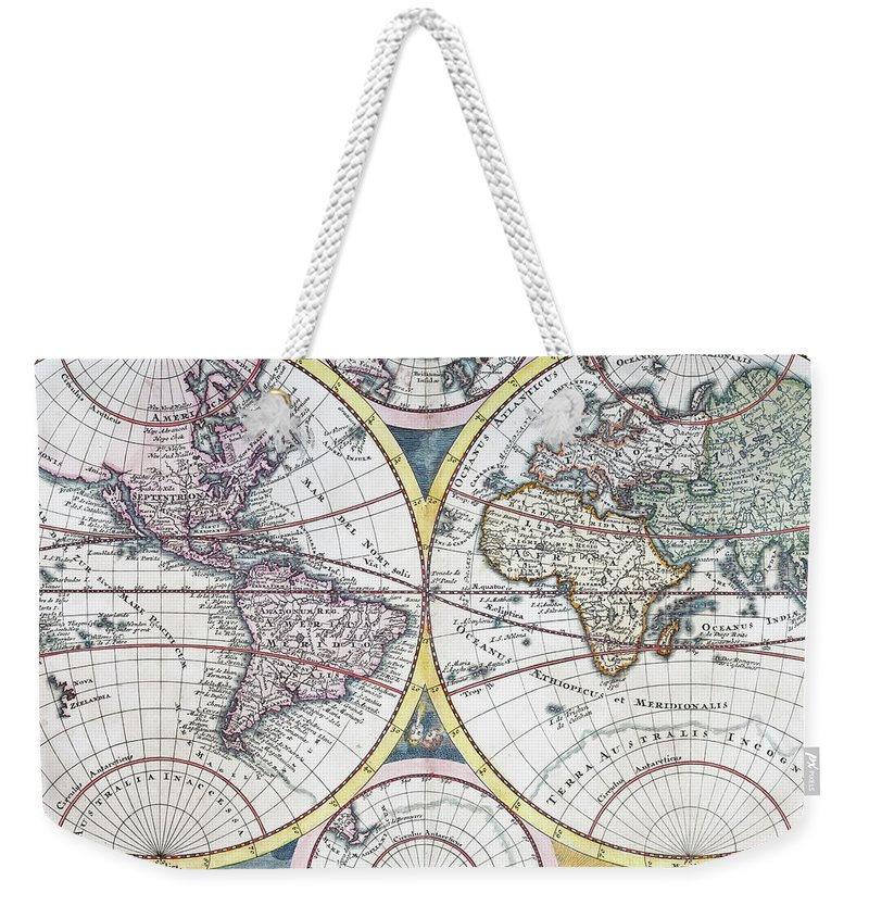 Engraving Weekender Tote Bag featuring the digital art Detail Copper Engraving Of World Map by Grafissimo