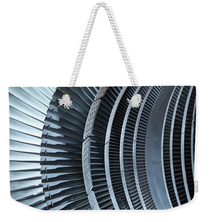 Manufacturing Equipment Weekender Tote Bag featuring the photograph Detail Of Turbine by Monty Rakusen