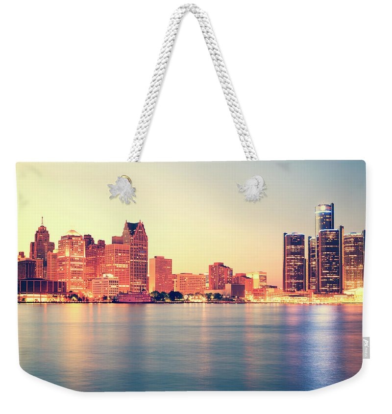 Downtown District Weekender Tote Bag featuring the photograph Detroit At Sunset by Espiegle