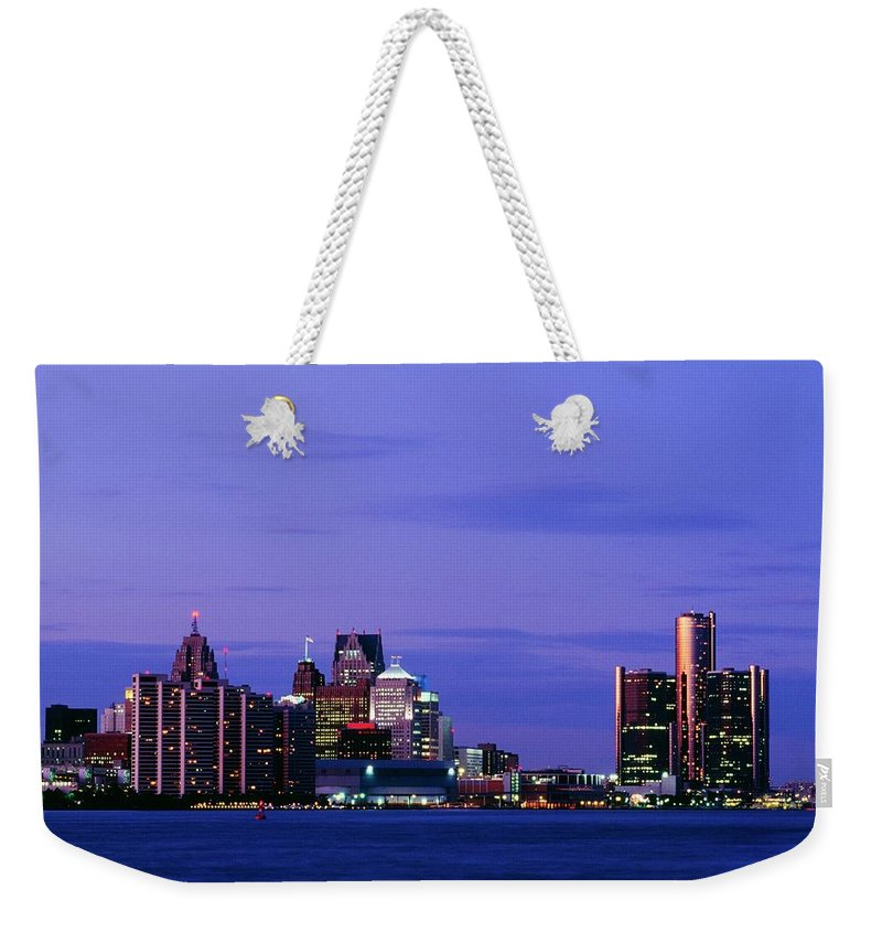 Downtown District Weekender Tote Bag featuring the photograph Detroit Skyline At Night In Usa by Design Pics