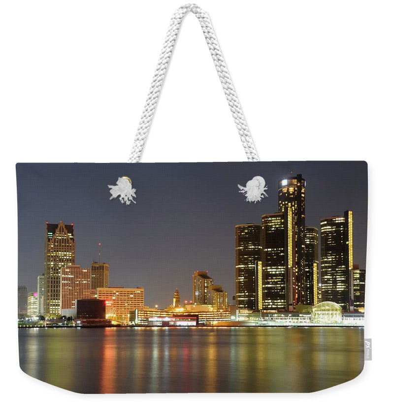 Downtown District Weekender Tote Bag featuring the photograph Detroit Skyline At Night by Rivernorthphotography