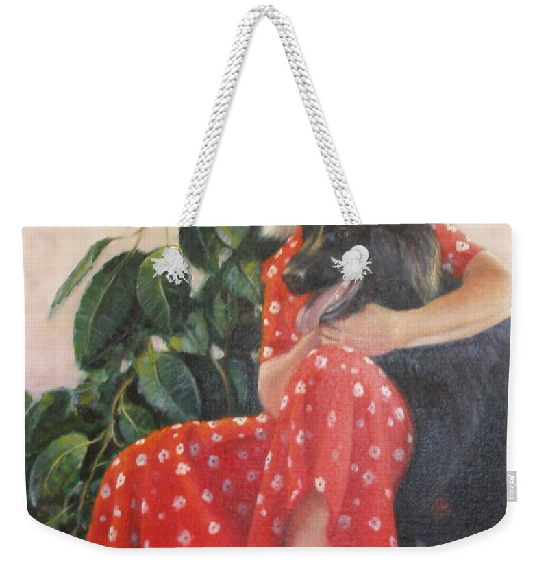 Realism Weekender Tote Bag featuring the painting Diane and Cinder by Donelli DiMaria