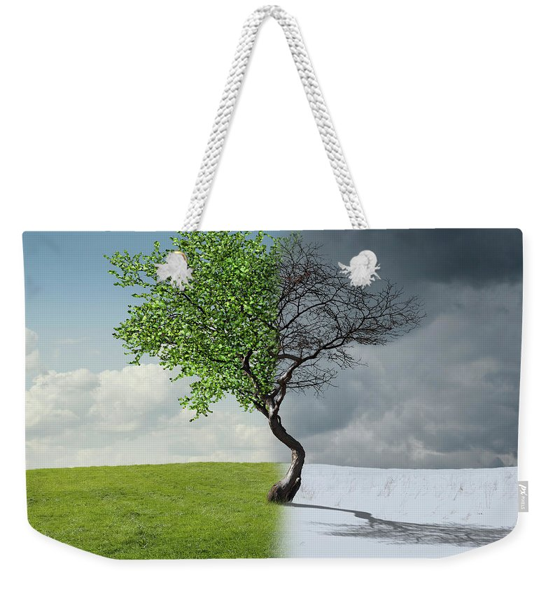 Snow Weekender Tote Bag featuring the photograph Digital Illustration Of Half Winter by Chris Clor