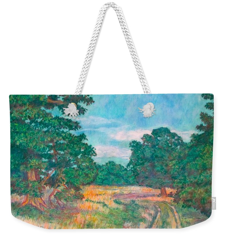 Landscape Weekender Tote Bag featuring the painting Dirt Road Near Rock Castle Gorge by Kendall Kessler