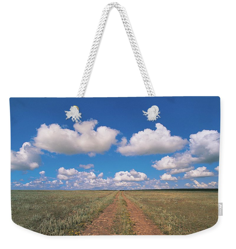 Grainy Weekender Tote Bag featuring the photograph Dirt Road On Prairie With Cumulus Sky by Mimotito