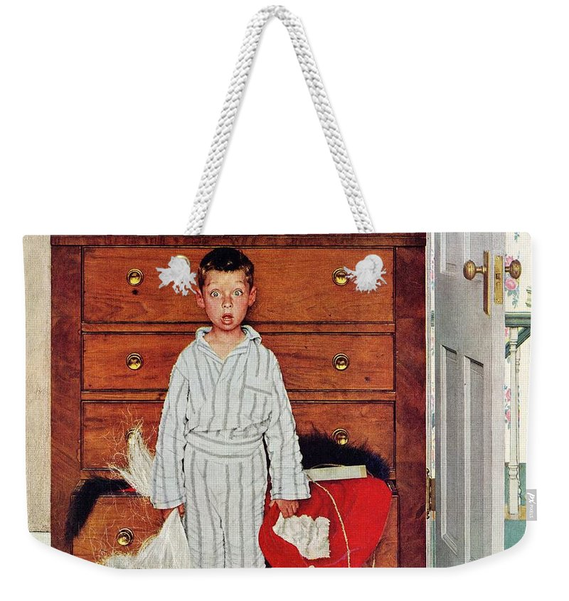 Bedrooms Weekender Tote Bag featuring the drawing Discovery by Norman Rockwell