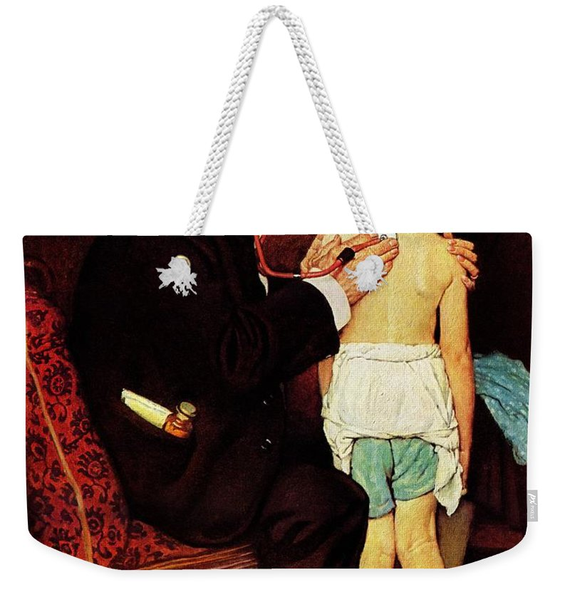 Doctor Weekender Tote Bag featuring the drawing Doc Melhorn And The Pearly Gates by Norman Rockwell