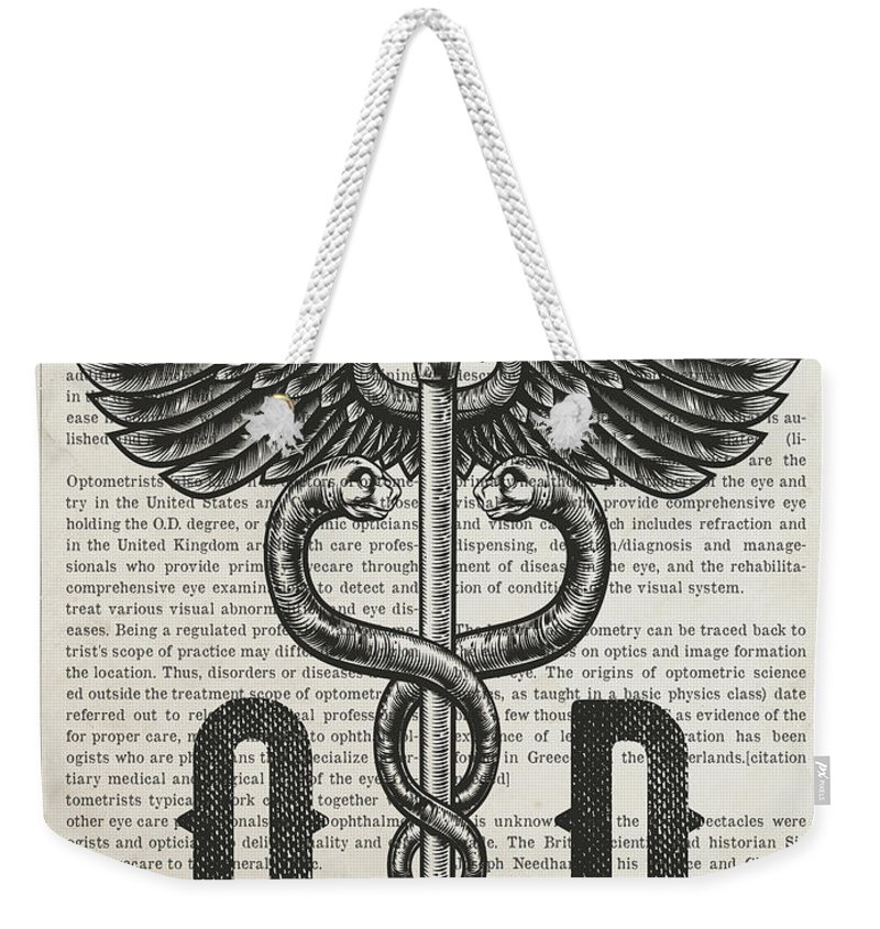 Doctor Of Optometry Weekender Tote Bag featuring the digital art Doctor Of Optometry Gift Idea With Caduceus Illustration 01 by Aged Pixel