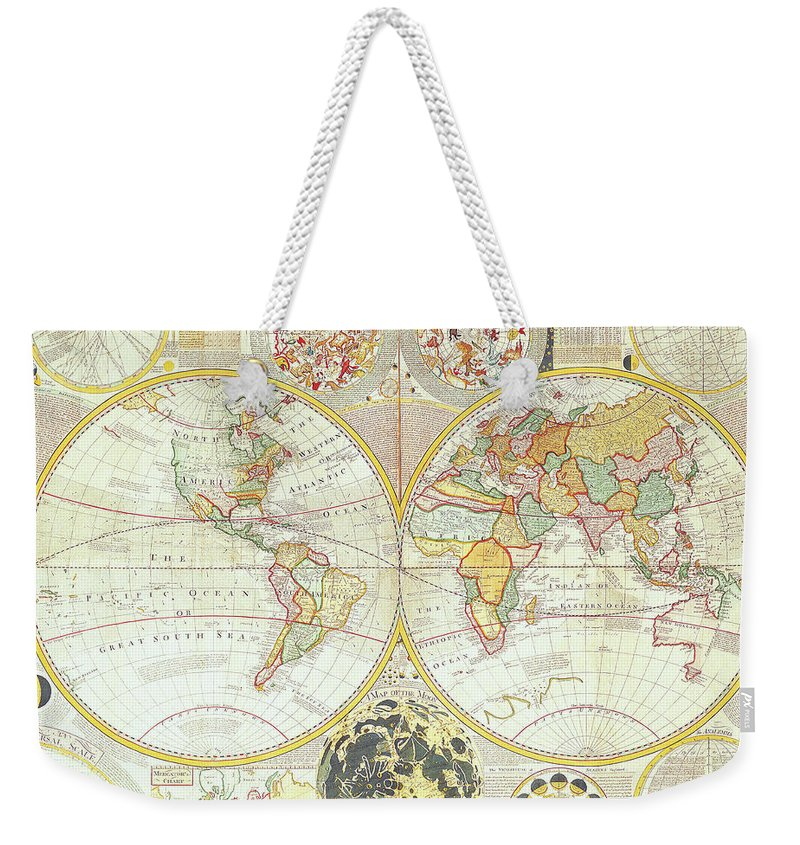 Ancient Weekender Tote Bag featuring the digital art Double Hemisphere World Map by The Map House Of London