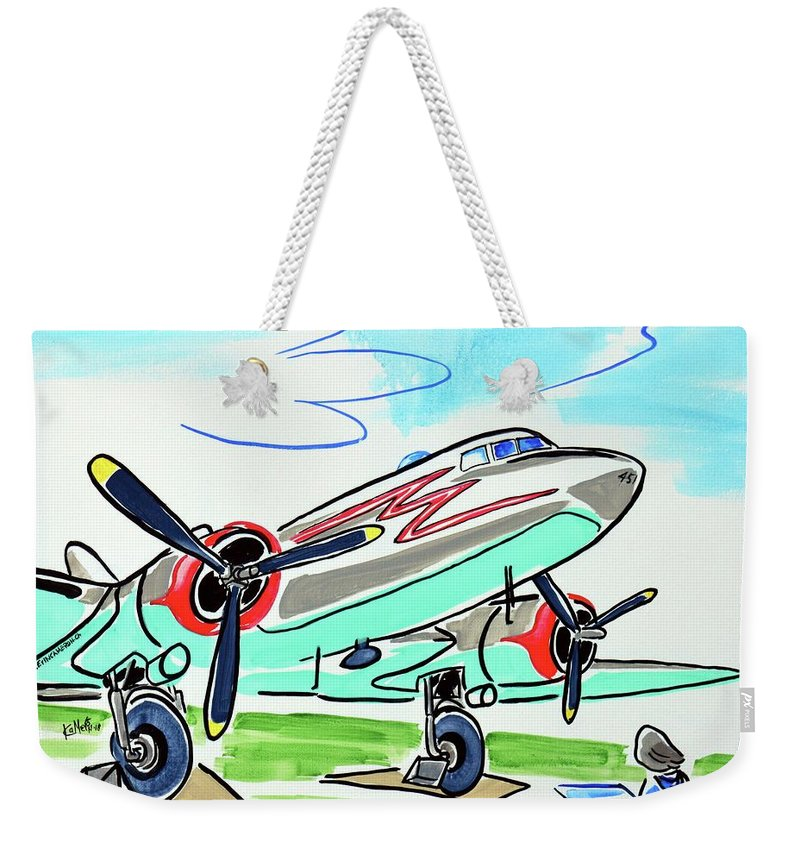 Plane Weekender Tote Bag featuring the painting Douglas Dc-3 by Kevin Cameron