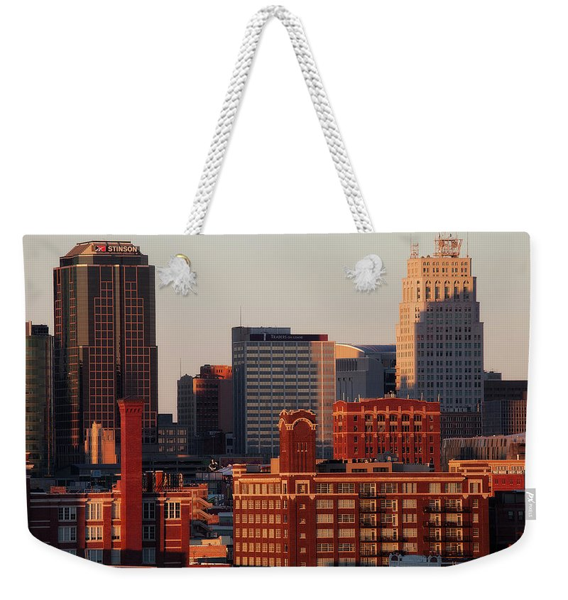 Downtown District Weekender Tote Bag featuring the photograph Downtown Kansas City by Eric Bowers Photo