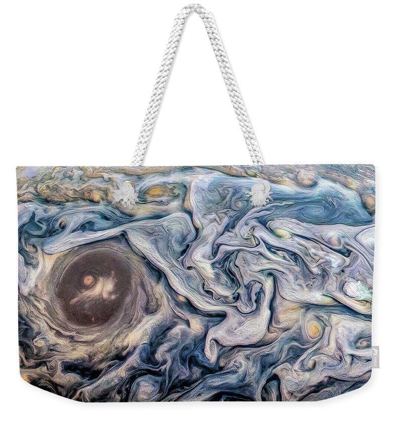 Juno Weekender Tote Bag featuring the photograph Dramatic Jupiter by Nasa